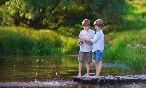 Two-young-cute-boys-fishing-on-a-lake-in-a-sunny-summer-day